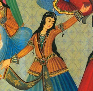A Persian Woman dancing. From wall painting at Hasht-Behesht Palace, Isfahan, Iran. Photo by Zereshk. This image (or other media file) is in the public domain because its copyright has expired.
