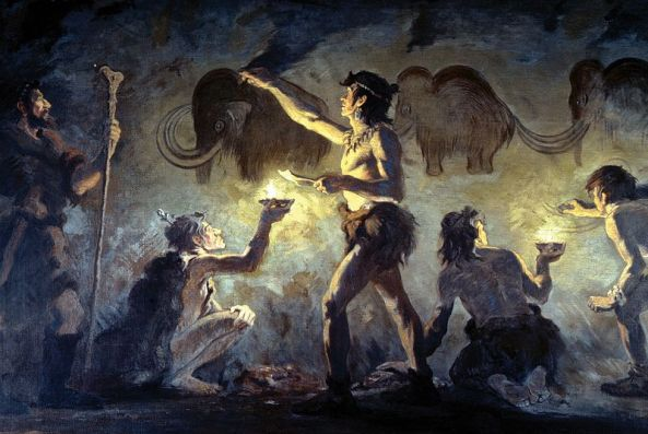 Cro-Magnon artists painting in Font-de-Gaume, AMNH. Date Made public in 1920, according to the book Charles R. Knight: the Artist Who Saw Through Time from wikimedia commons