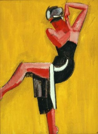 Dancer on yellow background, 1920 by Harald Giersing Funen Art Museum This image (or other media file) is in the public domain because its copyright has expired.