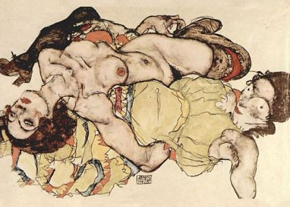 Two Women by Egon Schiele The author died in 1918, so this work is in the public domain in its country of origin and other countries and areas where the copyright term is the author's life plus 90 years or less.