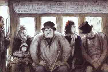 The Omnibus by Honore Daumier This image (or other media file) is in the public domain because its copyright has expired.